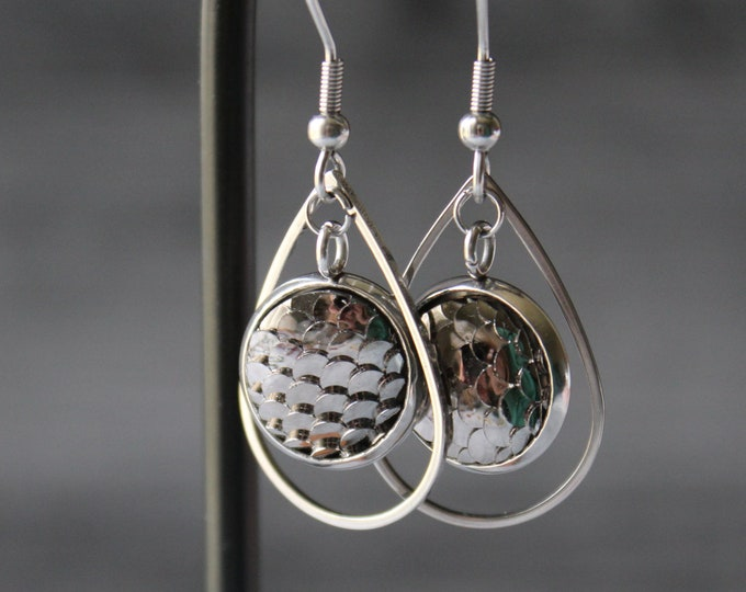silver mermaid scale earrings on stainless steel ear wires, unique gift, dragon scale