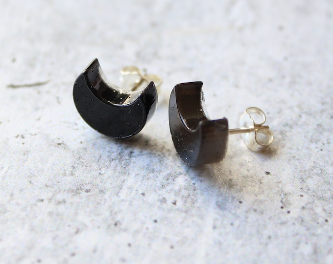 black moon earrings with sterling silver posts, unique gift, celestial jewelry, crescent moon