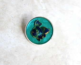 aqua fish pin, lapel pin, scarf pin, fish brooch, bag pin, purse pin, tropical fish, gift for women, beach theme, unique gift