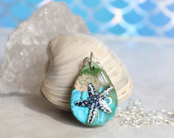 starfish necklace, ocean jewelry, concrete jewelry, unique gift, teardrop necklace, geometric jewelry, ocean lover, surfer necklace