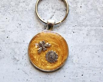 bee keychain, sunflower keyring, unique gift, golden
