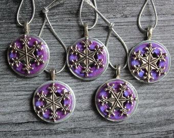 snowflake ornament, set of 5, purple, miniature tree, table top tree, tree ornament