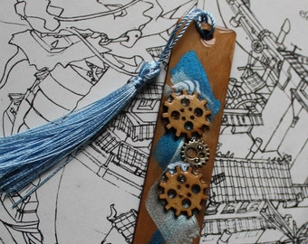 Wood bookmark, steampunk gear bookmark