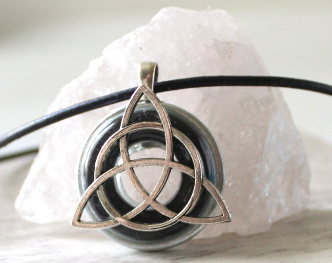 triquetra necklace, charcoal gray, Celtic knot jewelry, mens Irish pendant, boyfriend gift, wiccan necklace