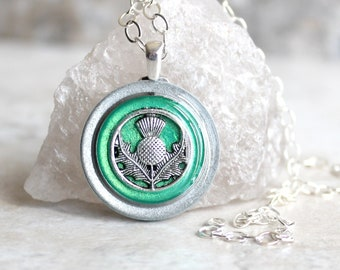 green Scottish thistle necklace, Scotland jewelry, thistle pendant, unique gift, floral jewelry, Scottish wedding, Celtic jewelry