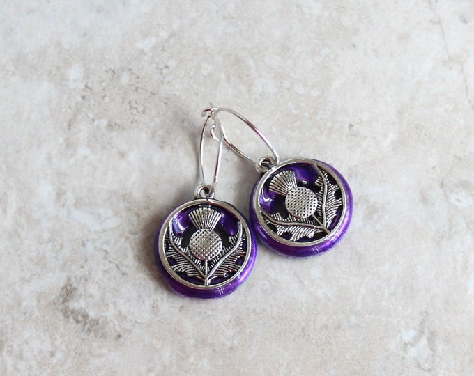 purple Scottish thistle hoop earrings, Scottish jewelry, unique gift, hoop with charm, floral jewelry, nature jewelry