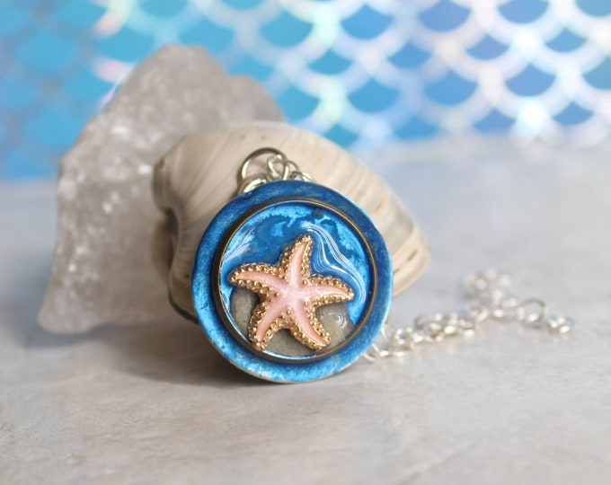 pink starfish necklace, fish jewelry, aloha jewelry, nature necklace, tide pool necklace, Bioluminescent beach, unique gift