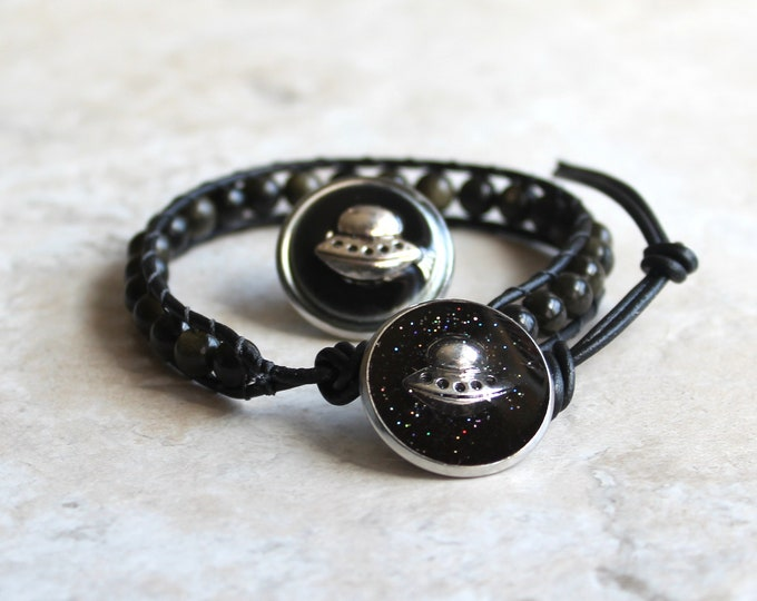 black UFO gift set, UFO bracelet, UFO lapel pin, flying saucer, space craft tie tack, mens jewelry, mens gift, unique gift, galaxy gift set