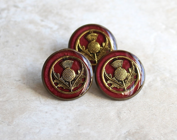 garnet red and gold Scottish thistle tie tack, lapel pin, mens jewelry, Scottish jewelry, floral pin, Scottish wedding, unique gift