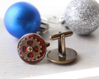 steampunk cufflinks, mens jewelry, gear jewelry