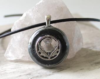 gray Scottish thistle necklace, floral pendant