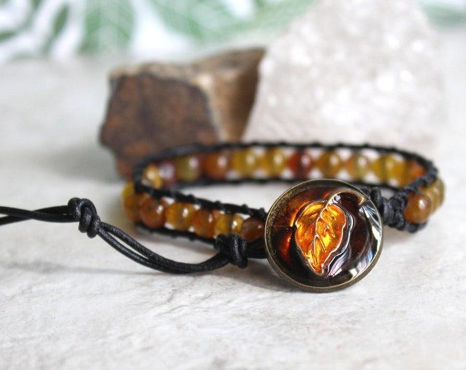 leaf bracelet, fall jewelry, agate bead bracelet, leather cord bracelet, nature jewelry, unique gift, fall leaves, fall style