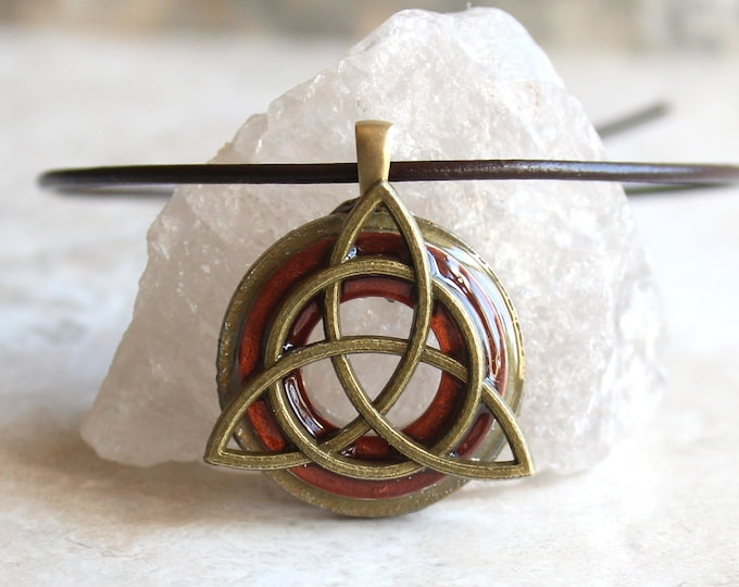 dark copper triquetra necklace, Celtic knot jewelry, mens necklace, mens jewelry, druid jewelry, boyfriend gift, gift for him, fathers day