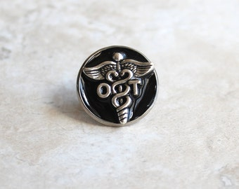black occupational therapy pin, OT pinning ceremony, OT graduation gift, white coat ceremony, graduation gift, occupational therapist