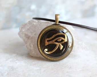 black gold Eye of Horus necklace, eye of Ra jewelry, Egyptian pendant, mens jewelry, boyfriend gift, mens necklace, unique gift