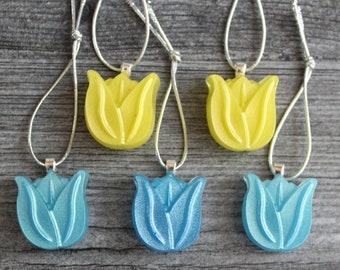 yellow and blue tulip ornaments, set of 5, table top tree ornaments, spring tree decorations, miniature tree, flower ornaments