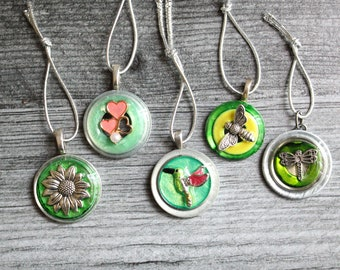 spring tree ornaments, set of 5, table top tree, spring decorations, miniature tree