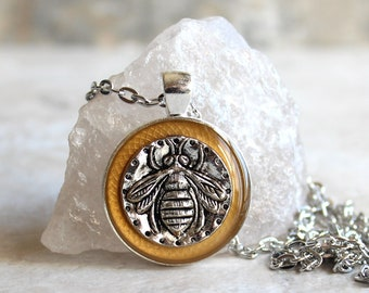dark gold bee necklace, honeybee jewelry, bumblebee pendant, nature necklace, unique gift, insect jewelry, gift for her, gift for him