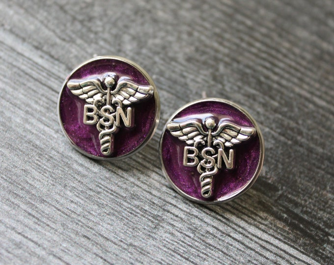 Bachelor of Science nursing pin, BSN pinning ceremony, nurse graduation gift, white coat ceremony, purple