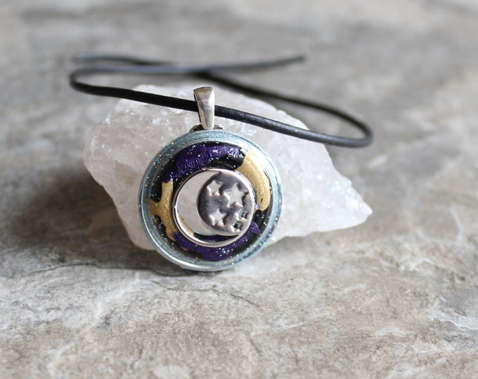 moon and stars necklace, celestial jewelry, Wiccan pendant, lunar jewelry, lunar necklace, unique gift