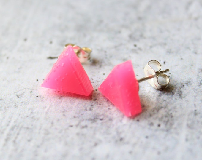 pink triangle earrings with sterling silver posts, minimalist jewelry, unique gift