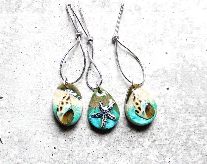 set of 3 ocean themed ornaments, seashell Christmas tree ornaments