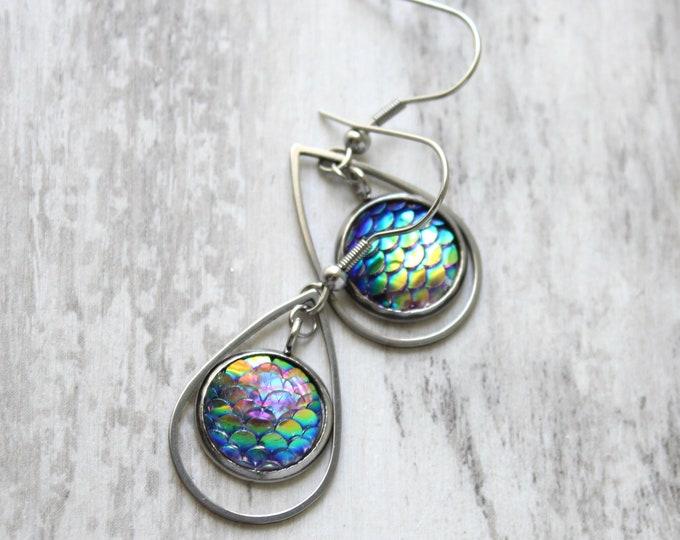 peacock mermaid scale earrings on stainless steel ear wires