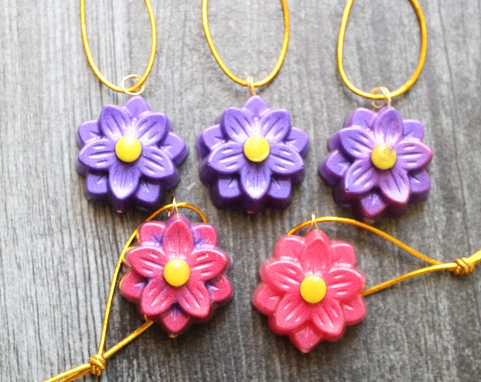 flower ornaments, set of 5, purple and red, table top tree ornaments, spring tree decorations, miniature tree