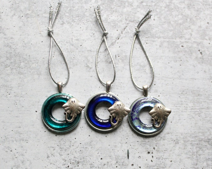 stingray ornament, set of 3, ocean themed Christmas tree ornament, table top tree ornament, teal blue