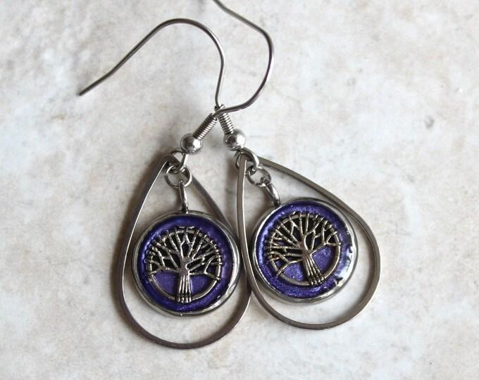 purple tree earrings, tree of life, tree jewelry, woodland jewelry, unique gift, wife gift, nature earrings, teardrop earrings