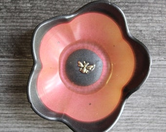 floral ring dish, small flower bowl with bee, ring dish, trinket dish, candle holder, knick knack bowl, peach and black