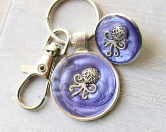 purple octopus keychain and lapel pin gift set, ocean keyring