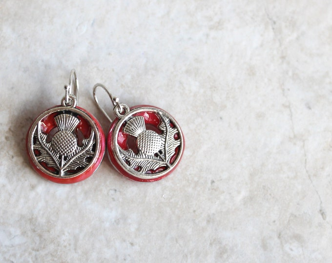 rose Scottish thistle earrings, sterling silver ear wire, flower dangle earrings, Scottish jewelry, unique gift, gift for her