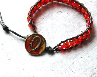 shark bracelet with red / orange glass beads and leather cord, unique gift, boyfriend gift