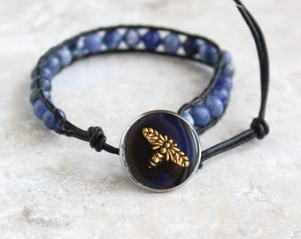 royal blue honeybee bracelet, bee bracelet, sodalite beaded bracelet, leather cord bracelet, bee jewelry, unique gift