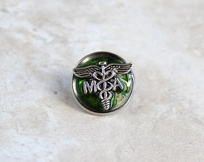 green medical assistant pin, MA pinning ceremony, MA graduation gift, white coat ceremony, lapel pin, tie tack, unique gift