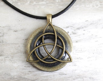 charcoal gray triquetra necklace, Celtic knot jewelry, mens Irish pendant, boyfriend gift, wiccan necklace