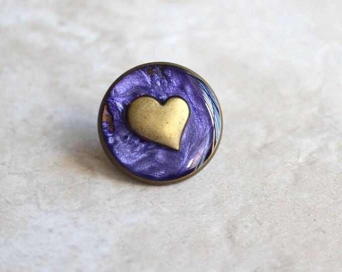 purple heart lapel pin, heart tie tack, mens jewelry, valentine gift, anniversary gift, unique gift, heart jewelry, wedding jewelry