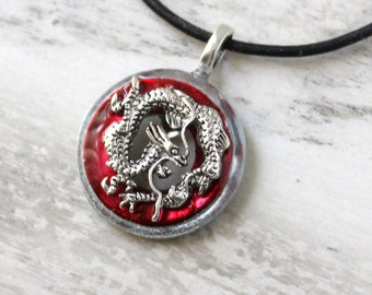 red Chinese dragon necklace, mens jewelry