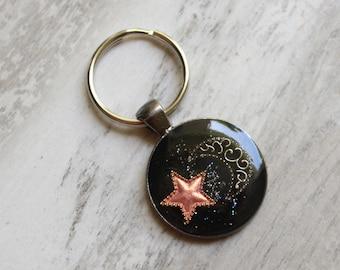 star and moon keychain, crescent moon keyring