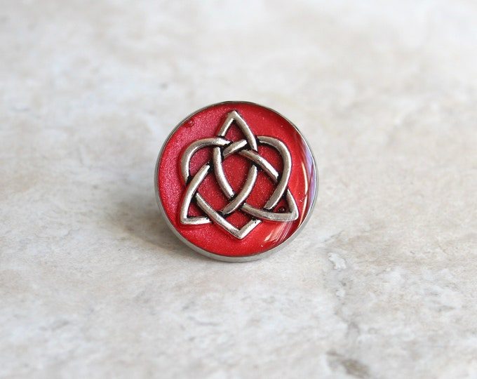 red celtic knot tie tack, lapel pin, triquetra tie tack, celtic jewelry, mens jewelry, wedding party, groomsmen gift, groom gift