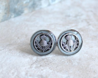 silver gray Scottish thistle cufflinks, mens jewelry, Scotland jewelry, Scottish cufflinks, groomsmen gift, best man gift, Scottish wedding