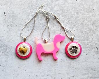 dog lover Valentine tree ornaments, set of 3, heart ornament, paw ornament, dog ornament