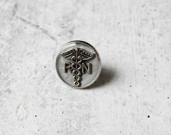 silver gray registered nurse RN pin, lapel pin, pinning ceremony, nurse graduation gift, white coat ceremony