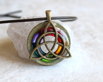 rainbow Triquetra necklace, celtic knot jewelry, mens necklace, mens jewelry, pride jewelry