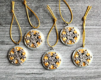 snowflake ornament, set of 5, golden sparkle, miniature tree, table top tree, tree ornament