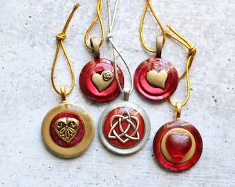 Valentine tree ornaments, set of 5, heart ornament