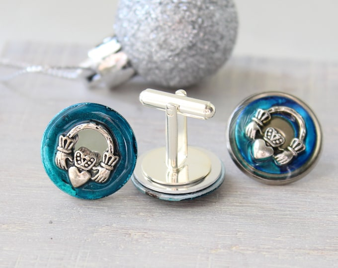 Claddagh cufflinks and lapel pin gift set, teal blue, mens jewelry