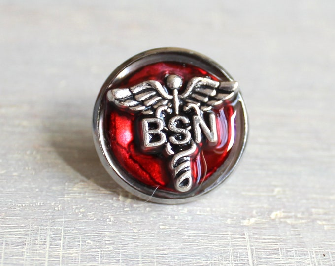 red Bachelor of Science nursing pin, BSN pinning ceremony, nurse graduation gift, white coat ceremony