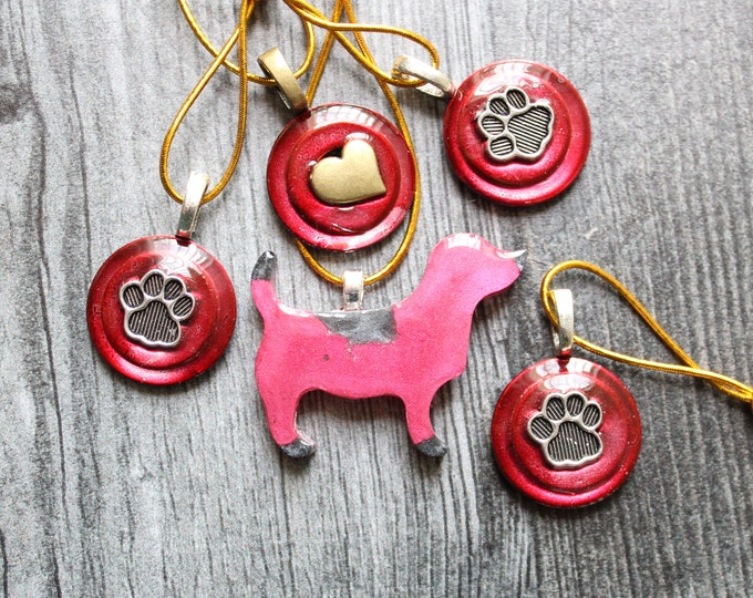 dog ornaments, set of 5, dog paw ornaments, mini tree, table top tree, dog lover, dog decor